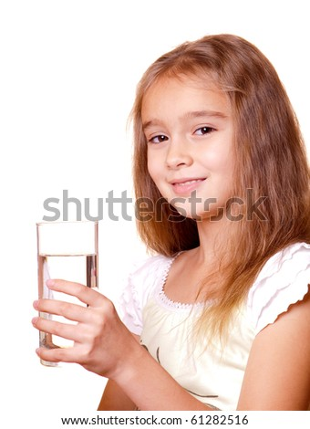 Beauty girl with a glass of clear water - over white background - stock photo
