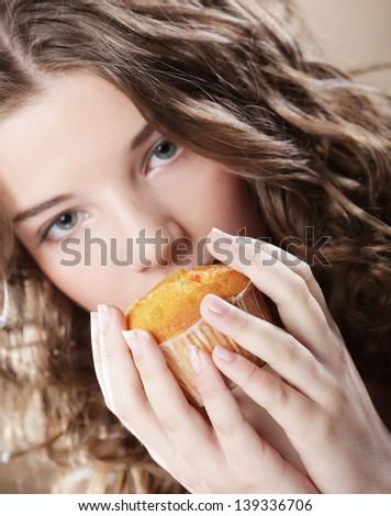 beauty girl with cake - stock photo