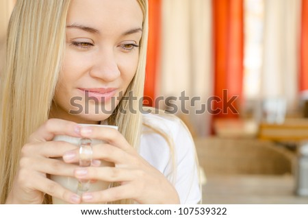 Beauty Girl With Cup of Coffee - stock photo