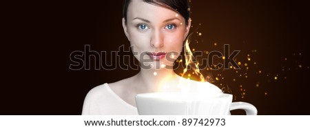 Beauty Girl With Cup of Coffee. Advertisement poster or wallpaper with glitter and cute background - stock photo
