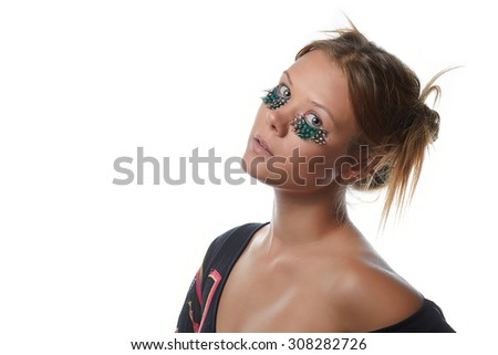 beauty girl with false eyelashes isolated on white background