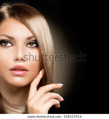 Beauty Girl With Healthy Long Hair - stock photo