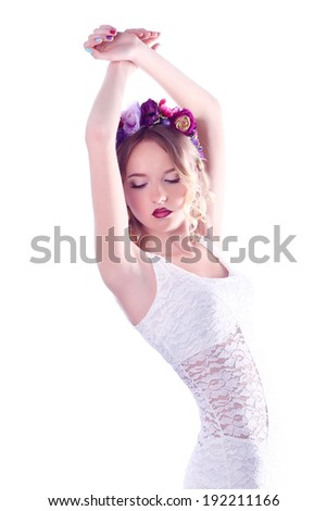 Beauty Girl With Orchid Flowers. - stock photo