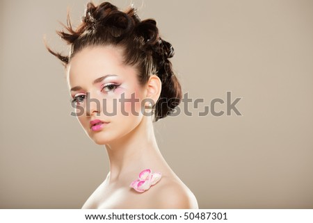 Beauty  girl with pink  Japanese sakura  make-up.Fashion Model. - stock photo
