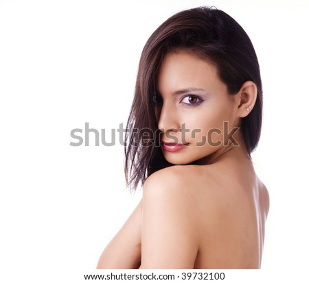 Beauty Headshot of Sexy Young Brunette Girl on White, Copyspace
