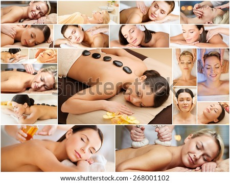 beauty, healthy lifestyle and relaxation concept - collage of many pictures with beautiful young women having facial or body massage in spa salon - stock photo