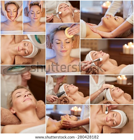 beauty, healthy lifestyle and relaxation concept - collage of many pictures with beautiful young woman having facial massage and treatments by cosmetologist at spa salon - stock photo