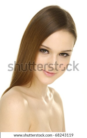 beauty in portrait of young girl with long brown hairs - stock photo