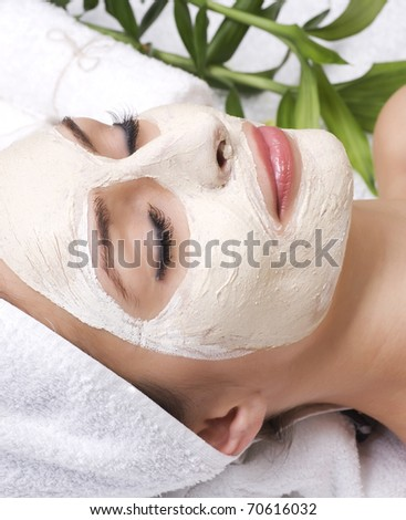 Beauty in Spa.Clay Facial Mask.Dayspa - stock photo