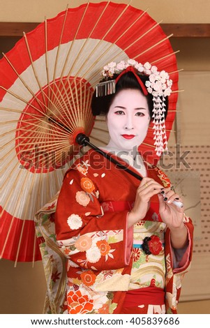 Beauty Japanese Geisha studio shot - stock photo