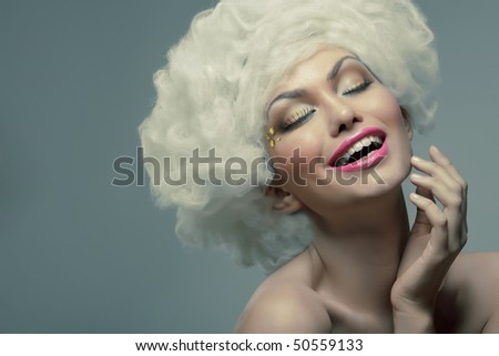 Beauty Joyful cloudy white hair woman.Fashion model. - stock photo