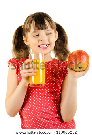 beauty little girl, hold apple and  drink  juice, on white background, isolated - stock photo