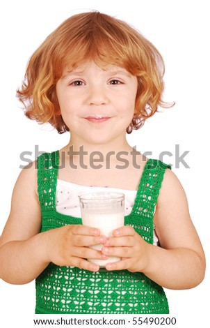 beauty little girl with glass of milk - stock photo
