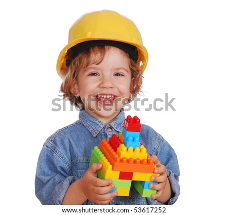 beauty little girl with yellow helmet - stock photo