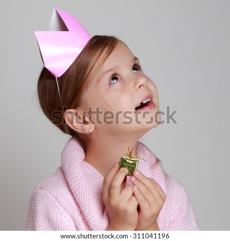 Beauty little princess with pink tiara - stock photo