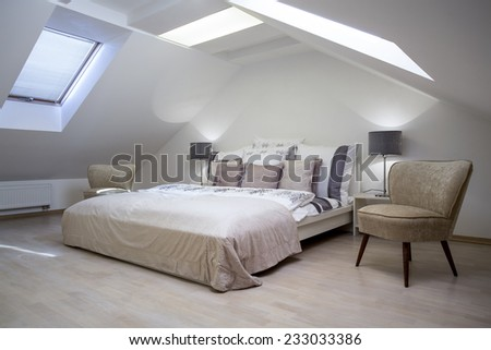 Beauty luxury hotel room with double bed - stock photo