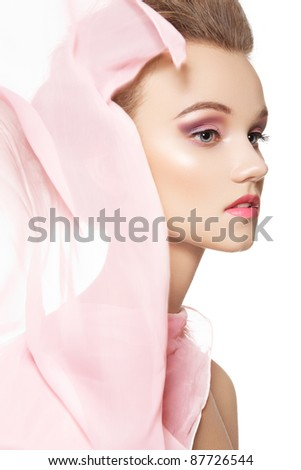 Beauty, make-up & accessories. Beautiful romantic style of pretty girl with waving silk scarf on white background - stock photo