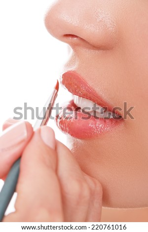 Beauty, makeup. Girl with pink lipstick - stock photo