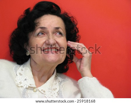 beauty mature lady talk on cell phone - stock photo