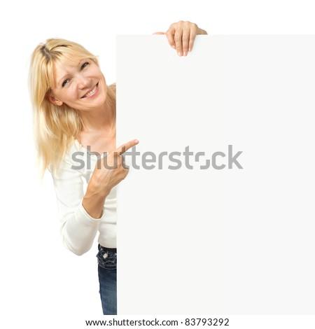 Beauty mature woman with bulletin board - stock photo