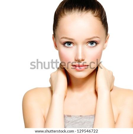 Beauty Model Girl Portrait . Beautiful Woman Face. Looking at Camera. Isolated on White Background. Pretty Girl with Perfect Skin. Skincare - stock photo