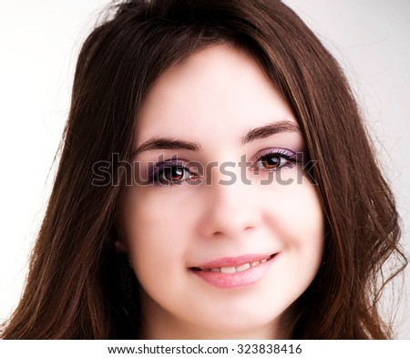 Beauty Model girl with  Brown Hair. Beautiful brunette woman  - stock photo