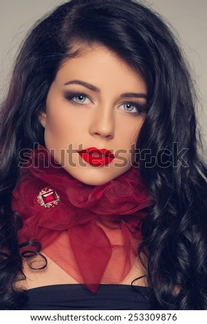 Beauty model girl with long brown hair and red lips - stock photo
