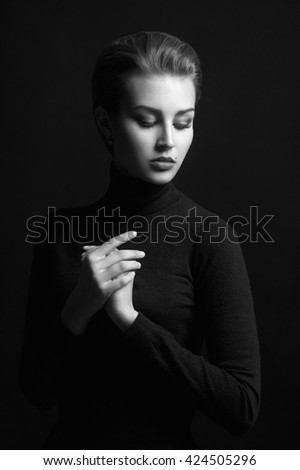 beauty monochrome portrait of a young woman. beautiful girl with mole on her face - stock photo