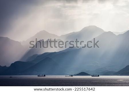 Beauty nature landscape of Taurus rock mountains over Mediterranean Sea at Turkey Antalya - stock photo