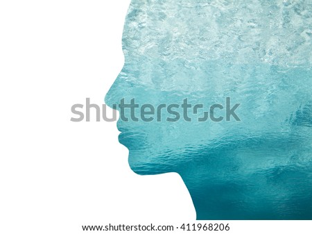 beauty, nature, travel and ecology concept - portrait of woman profile with sea water with double exposure effect - stock photo