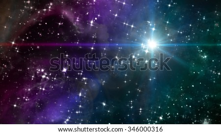 beauty night sky with star background in space - Elements of this Image Furnished by NASA - stock photo