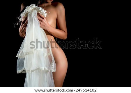 beauty nude portrait of  bride - stock photo