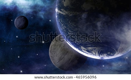 Beauty of planet Earth with nebulas and stars. This image elements furnished by NASA