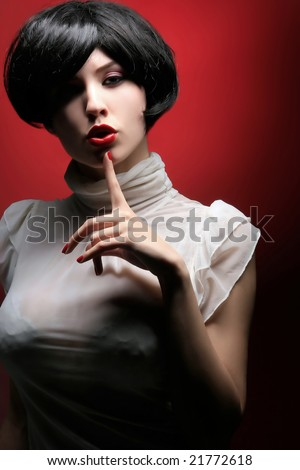 beauty pin up lady on the red background - stock photo
