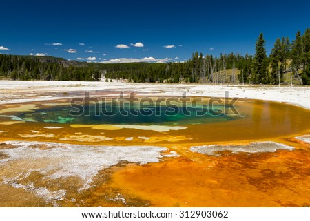 Beauty Pool at Upper Geyser Basin, Yellowstone National Park, Wyoming, USA - stock photo