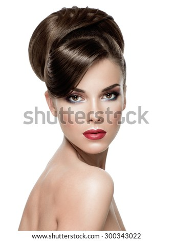 Beauty Portrait. Beautiful Face of Young Woman with Clean Fresh Skin with hairstyle close up isolated on white.  Wavy hairstyle. Looking at the camera. - stock photo