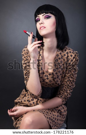 Beauty Portrait. Beautiful woman. Shot in a studio on a black background - stock photo