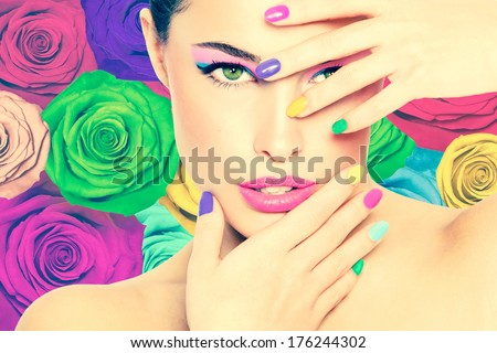 beauty portrait, colorful makeup, colorful roses background - stock photo