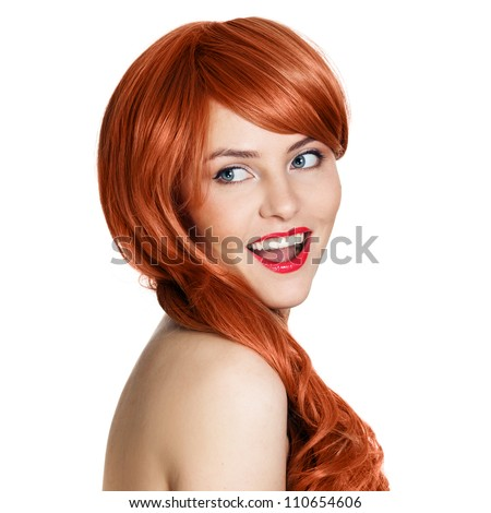Beauty Portrait. Curly Hair. White Background - stock photo