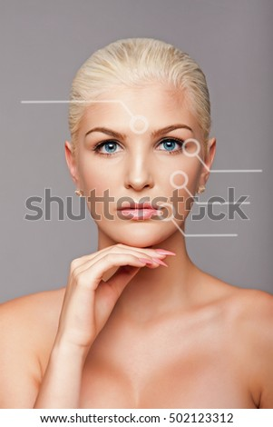 Beauty portrait face of beautiful blond woman with blue eyes and smooth skin with lines identifying wrinkle zones, aesthetics skincare concept.