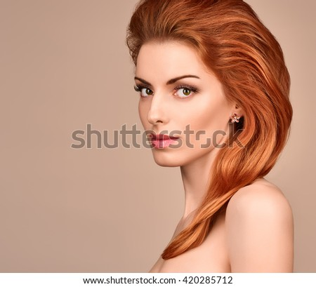 Beauty portrait nude woman, eyelashes, perfect skin, natural makeup, red lips, fashion. Gorgeous sensual attractive pretty redhead sexy model girl, shiny wavy hair.People face closeup, spa, copy space - stock photo