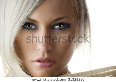 beauty portrait of a cute blond girl with long hair and skin like a dolly - stock photo