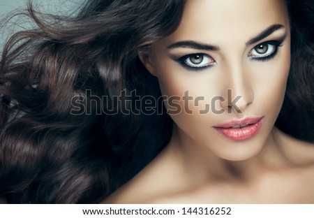 Beauty portrait of a sensual Caucasian woman. - stock photo