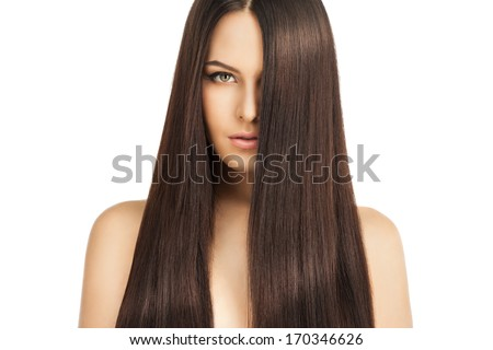 beauty portrait of a well-groomed young woman with beautiful hair - stock photo