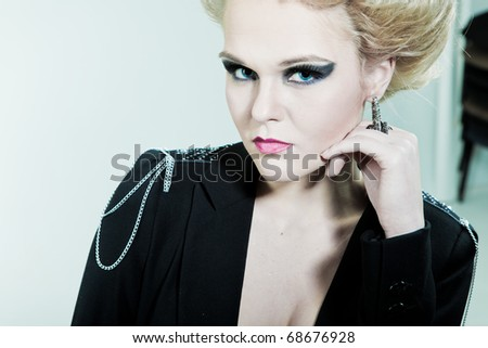 Beauty portrait of a woman with a hand on the person - stock photo