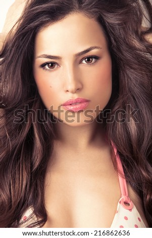 beauty portrait of a woman with stylish healthy hair - stock photo