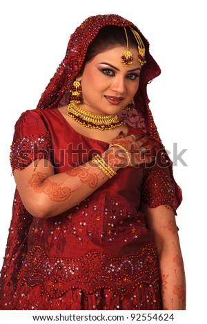 Beauty portrait of a young asian woman in traditional clothes with bridal makeup and jewelry, closeup shot - stock photo