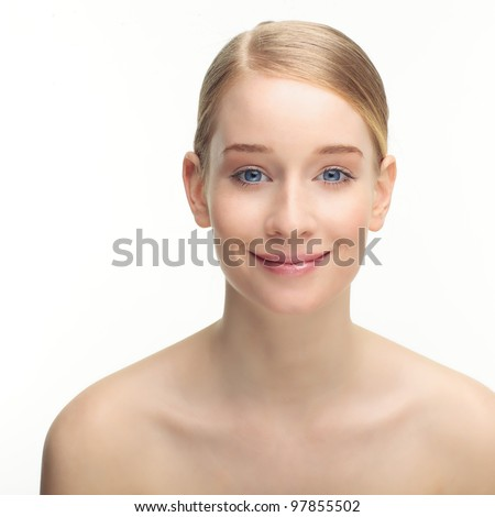 Beauty portrait of a young caucasian blond woman against white background, - stock photo