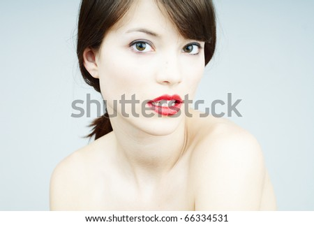beauty portrait of a young woman - stock photo
