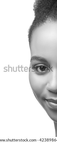 Beauty portrait of African woman with perfect skin. Isolated on white background. Black and white